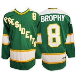SlapShot Hyannisport ПРЕЗИДЕНТЫ # 8 BROPHY Хоккей на траве Трикотажные изделия Все сшитые Мужчины Женщины Молодежные Зеленые Бесплатная доставка