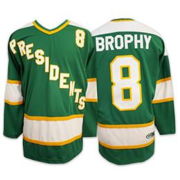 Discount xxl free movies - SlapShot Hyannisport PRESIDENTS #8 BROPHY Movie Hockey Jerseys All Stitched Men Women Youth Green Free Shipping