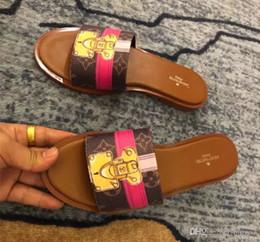2018 Nuovo marchio di lusso Lock It Mule Damier Azur Pantofola di tela Designer Pale Rosa Marrone Lether Trim Slide Sandal Taglia 35-40
