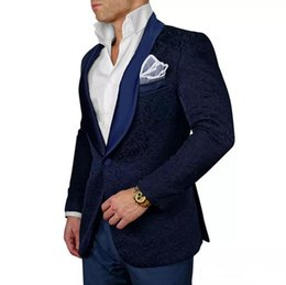 Mens wedding suits white blue online shopping - Dark Navy Groom Tuxedos White Peak Lapel Formal Groomsmen Red Black The Best Man Suits For Wedding Mens Business Suits Jacket Pant