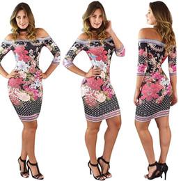 $enCountryForm.capitalKeyWord Canada - 2018 Summer Style Dresses Slash Neck Floral Print Sheath fashion Women Bandage bodycon Casual Sexy Mini Dresses