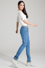 Wholesale loose harem pants women jeans for sale - Group buy Fashion Summer Women Elastic Jeans Woman Loose Harem Jeans Women Harem Pants Plus Size Jeans for Women Washed