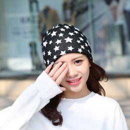 autumn head scarf 2019 - New Autumn Fashion New Knit Baggy Beanie Hat With Star Female Warm Winter Hats For Girls Women Beanies Bonnet Head Cap S