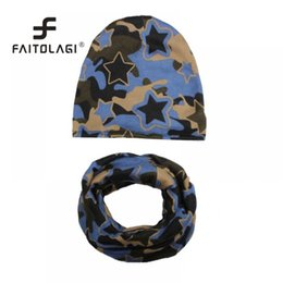 Discount cap boy camouflage - Collar Star Toddler Kids Fashion O Prints Hat Warm Hat Scarf With Ring Boys Camouflage Caps Cotton Autumn Winter Child S