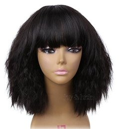 China Free Shipping 12 inch Short kinky Straight with bangs Bob Wigs Cosplay 29 colors for Costume Wig for Women Party cheap kinky straight bob wig suppliers