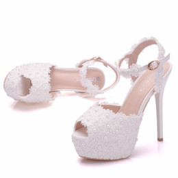 1d374f7a75f New white lace flowers buckle peep toe shoes for women high heels fashion stiletto  heel wedding shoes Platform pearls Bridal sandals