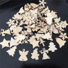 $enCountryForm.capitalKeyWord Australia - 50Pcs Lot Natural Wood Christmas Tree Ornaments Pendant Snowflakes Bell Santa Snowman Deer Xmas Home Wedding Decorations 62081 Y18102609