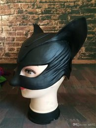 Discount female cat woman costume - Halloween Mask Party Supplies Dress Catwoman Black Half Face Cosplay Costume Sexy Cat Female Head Cover Small Bat Easy C