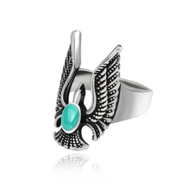 2d36eb7c31d6 Vintage Punk Blue Natural Stone Eagle Ring For Men Gothic Classic  Motorcycle Biker Animal Cool Man Rings Men s Jewelry Anillos