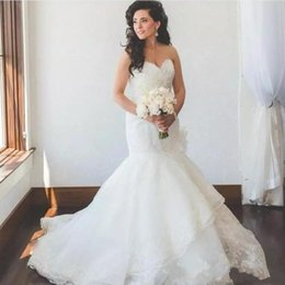 $enCountryForm.capitalKeyWord Australia - 2018 Vintage Lace Mermaid Wedding Dresses Bridal Gowns Sweetheart Neckline Full Lace Tiered Train country Wedding Gown Custom Made plus size