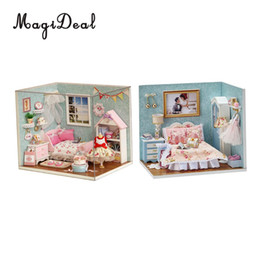 Discount little kits - MagiDeal 2 Set DIY Wooden Miniature Dollhouse Kit with Light - Happy Little World + Happy Moment
