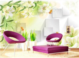 $enCountryForm.capitalKeyWord Canada - Lily Flowers Tv background wall paper silk cloth 3d wallpaper seamless mural Customize any size murals photo