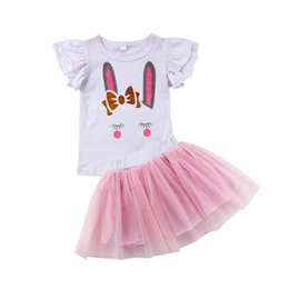 56f99096a5d4 Newborn Baby Kid Girl Tutu Rabbit Tops Tulle Dress Clothes Bunny Printed  Set 2pc Size 1-5T