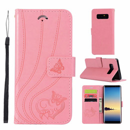 Wholesale samsung s7 phone case wallet resale online - Butterfly Embossing Wallet Phone Case for Samsung Galaxy Note S6 S7 Edge S8 S9 and iPhone X Plus