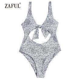 Chinese  wholesale Leopard Swimwear Women Tie Front Cutout One Piece Swimsuit Sexy Scoop Neck Hollow Out Padded Women's Swimming Suit manufacturers