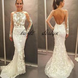 $enCountryForm.capitalKeyWord Canada - Long Sleeve Mermaid Civil Castle Wedding Dresses 2018 Modest Keyhole Back 3D Floral Applique Princess Holiday Party Bridal Wedding Gown
