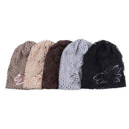 $enCountryForm.capitalKeyWord UK - Autumn Winter 5 Colors Hollow Women's Hat Lace Flower Beanie Scarf Cap Double Layer Hats For Women New Gorro Feminino Headwear