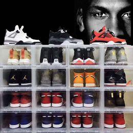 Large bLue box online shopping - 6pcs set Large Drop Front basketball shoe box Shoes Organizer Drawer Transparent Plastic Shoe Storage Box Display wall