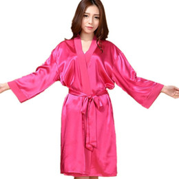 Wholesale- Top Quality New Hot Pink Chiese Women Silk Chiffon Robe Sexy  Kimono Bath Gown Sleepwear Nightgown Casual Robe One Size T01 ee9bf5d75