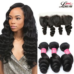 13x4 lace frontal malaysian 2019 - Loose Wave 3 Bundles With Frontal Closure Brazilian Hair Weave Bundles With Closure 4 5 Pieces Lot Human Hair 13x4 Lace