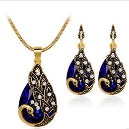 Olive green jewelry sets online shopping - designer jewelry sets for women wedding jewelry ethnic water drop shape crystal peacock necklace earrings hot fashion free of shipping