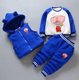 Toptan satış 2018 kış erkek ve kız Kore versiyonu artı kadife kalınlaşma gözlük domuz üç parçalı çocuk takım elbise