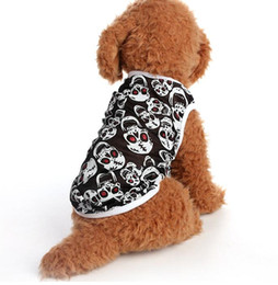 Wholesale summer pet dog cat apparel printing skull vest wedding pet shirt puppy clothes with xs s m l xl fashion clothing