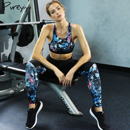 women s clothing jogging suits NZ - Girl Sports Suit Flora Printed Fitness Clothing Yoga Set Gym Running Jogging Fitness Clothing For Women Dropshipping S M L