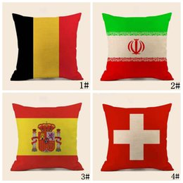 Wholesale World cup football flags online shopping - 2018 World Cup Flag Sign Pillow Pad Russian Football Match Italy Germany Argentina England Pillow Pillowcase