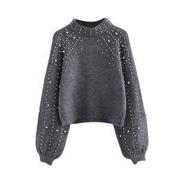 Chinese  Pearl Beaded Rib Knit Jumper Winter Sweater Womens Pullover Sweaters Grey Stand Collar Long Sleeve Tight Sweater WG229 manufacturers