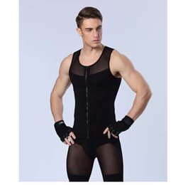 10adf0fbb91c1 men body shapers vest strong compression underwear hot shapers tights for  male bodysuit front zipper black white