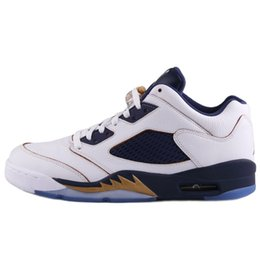 ceb7d0e81ca11d Cheap Mens Jumpman 5 V low basketball shoes 5s Olympic Gold Navy Dunk From  Above Pure Money Metallic Silver white AJ5 sneakers pro with box