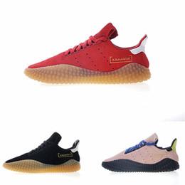 separation shoes c88b2 1745f 2018 vente chaude Kamanda daim vin rouge rose noir or gomme caoutchouc brut  chaussures de course pour pas cher sport baskets de sport pour hommes EUR  40-45