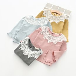 Pocket edition online shopping - Lace collar Han edition children T shirt autumn Style Lace pocket Jersey foreign trade children s wear