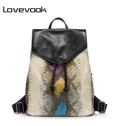 High Quality Backpack Brands Canada - LOVEVOOK brand women backpack serpentine prints drawstring backpack female high quality artificial leather shoulder school bags