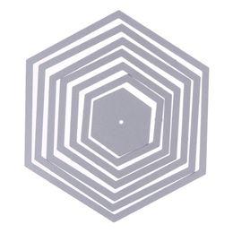 $enCountryForm.capitalKeyWord UK - 7Pcs Hexagon Spiral Cutting Dies Metal Stencil for DIY Scraobooking Photo Album Decoration Craft Dies Embossing Template Craft