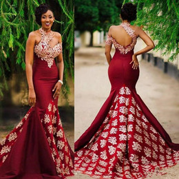 e3e333b74 Aso Ebi estilo rojo oscuro Sexy sirena vestidos de desfile de noche 2017  modesta encaje cuello alto sin respaldo barrido tren trompeta África  vestidos de ...