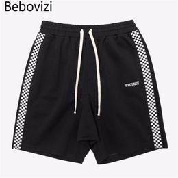 Wholesale side stripe shorts resale online – Bebovizi Brand Fashion Hip Hop Streetwear Shorts Women Men Sweatpants Side Stripes Checkerboard Skateboard Joggers Shorts