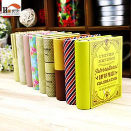 Green Box Containers Australia - CUSHAWFAMILY mini European style books shape candy storage box wedding favor tin box zakka cable organizer container household