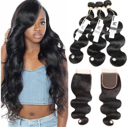 $enCountryForm.capitalKeyWord Australia - Mink Brazilian Body Wave Hair 3 Bundles With Closure 4pcs lot Brazilian Hair Weave Bundles 100% Human Hair Bundles With 4x4 Top Lace Closure
