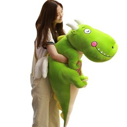 Chinese  new pop Korean dinosaur plush toy girl sleeping doll leisure dragon pillow for children adulsts gift decoration 55inch 140cm DY50480 manufacturers