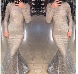 Strapless Sequin Red Dress Australia - Shiny Silver Sequins Dubai Mermaid Evening Dress Long Sleeves Arabic Formal Prom Dresses 2018 Gold Bodycon Maxi Dress Party Gown