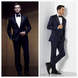 plus size navy blue suit Australia - High Quality Groomsmen Peak Lapel Groom Tuxedos Navy Blue Men Suits Wedding Prom Best Man Blazer( Jacket+Pants+Bow Tie )M279