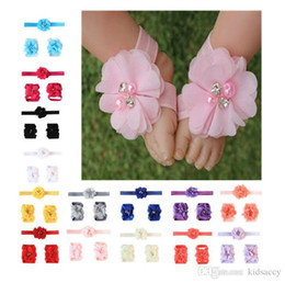 $enCountryForm.capitalKeyWord NZ - Baby Sandals Flower Shoes Cover Barefoot Foot Flower Ties Infant Girl Kids First Walker Shoes Headband Set Photography Props 14 Colors 145