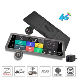 "Rearview Screen NZ - 10"" Touch Screen bundled Rearview Mirror Car DVR Camera 4G wifi bluetooth ADAS Android GPS Navigator Dual camears Full HD Front And Rear Cam"