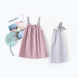 China Baby Girls Summer Dress Kids Clothes Plaid Print Suspender Girl Dress Girl Children Casual Dresses cheap dress lace girls baby children suppliers