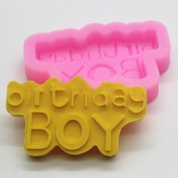 Wholesale Happy birthday boy silicone flip sugar chocolate lace cake decorative mold