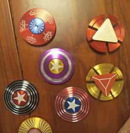 $enCountryForm.capitalKeyWord Australia - Creative Captain America Shield Hand Spinner Iron Man Fidget Alloy Puzzle Toys EDC Autism ADHD Finger Gyro Toy Adult Gifts Ship in 1 day