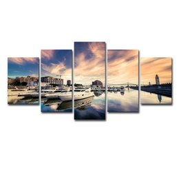 $enCountryForm.capitalKeyWord Australia - Canvas Pictures Wall Art Frame Painting Home Decor 5 Panels Sea And Ship Yachts Sunset Seascape Poster Modern HD Printed