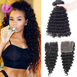 $enCountryForm.capitalKeyWord Australia - Brazilian Deep Wave 100% Human Hair With Closure 3 or 4 Bundles With Closure None Remy Hair Weave Extensions Can Be Dye